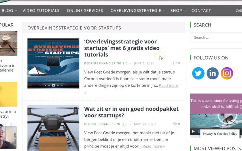 [VIDEO]: 'Zo bekijk je de 'Overlevingsstrategie voor startups' video tutorials' door Tony de Bree