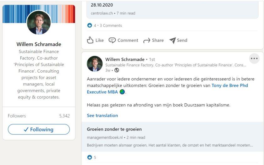 Willem Schramade over Groeien zonder te groeien. Succesvol ondernemen in de betekeniseconomie door Tony de Bree